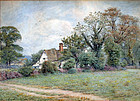 English Cottage Watercolor by Wilmot Clifford Pilsbury