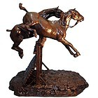 Bronze Sculpture of Horses Jumping a Fence by CONSTANTIN CRISTESCO