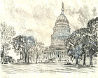 Rare View of the Capitol by  Joseph Pennell