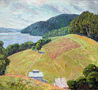 Painting of Farm Along the Potomac by Ruth Osgood  (American  ?-1977)