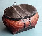 Large Antique Oval Chinese Split Bamboo Basket