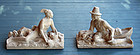 Pair of Painted Plaster Sculptures of a Pilgrim and Native American