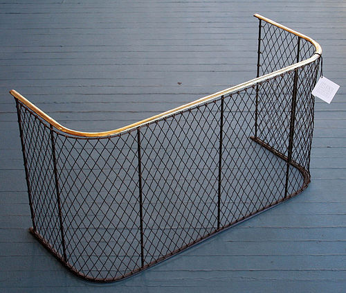 Antique Brass and Wire Nursery Fireplace Fender