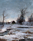 Winter Landscape by Adolf Kaufmann (Austrian 1848-1916)