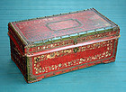 Rare Antique Chinese Painted Red Leather Trunk