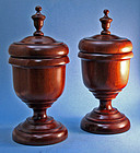 Rare Pair of Antique Scottish Turned Wood Urns