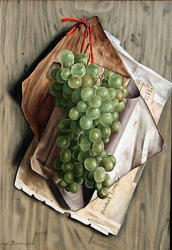 Trompe L�oeil Still Life of Grapes by Aimé Barraud ,Swiss born 1902