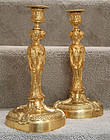 Exceptional Pair of French Bronze Dore Candlesticks