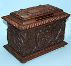 Antique English Carved Oak Letterbox