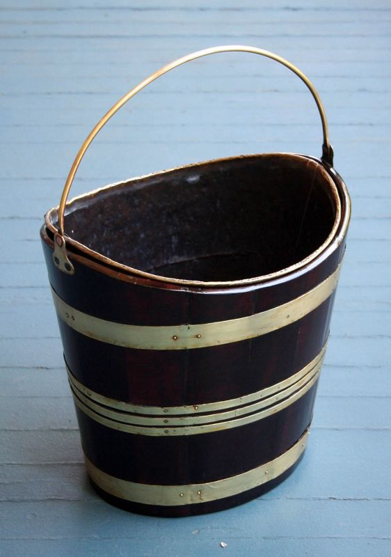Fine 18th Century English Brass and Mahogany Peat Bucket