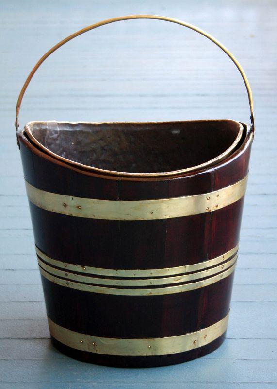 Fine 18th Century English Brass and Mahogany Peat Bucket
