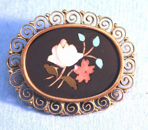 Antique Italian Grand Tour Pietra Dura Brooch