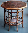 Antique Victorian Bamboo and Chinoiserie Decorated Center Table