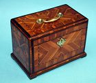 Early George II Marquetry Tea Caddy with Hidden Drawer