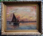 Painting of Fishermen in the Venetian Lagoon at Daybreak