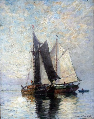 Marine Painting by Hendricks A. Hallett (American 1847-1921 )
