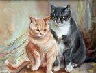 Painting of Cats by Elica Balla (Italian 1914-1995)