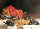 19th Century Tabletop Still Life with a Bowl of Grapes