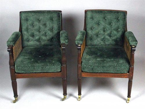 Rare Pair of Regency Caned Library Armchairs