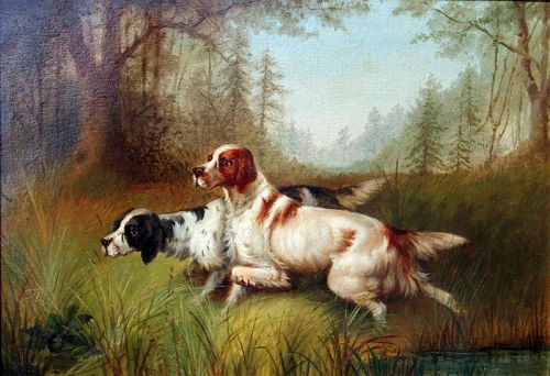 Setters on Point by Newbold Hugh Trotter (American, 1827-1898)