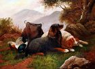 Painting of Dogs after the Hunt by William Benson (English b.1862)