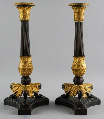 Fine Pair of Grand Tour Bronze and Ormolu Candlesticks