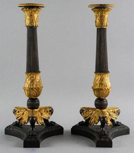Fine Pair of Grand Tour Bronze and Ormolu Candlesticks