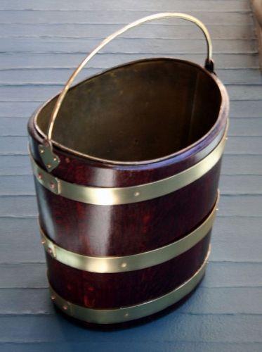 18th Century Oval Brass Bound Peat Bucket