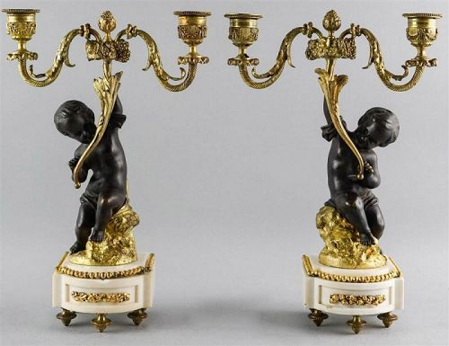 PAIR OF FRENCH TWO-LIGHT BRONZE CANDELABRA
