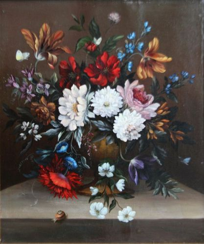 Dutch Still Life with Flowers on a Marble Ledge