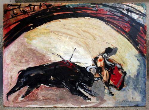 Painting of a Bullfight by Jaume Muxart (Spanish, 1922-2019)