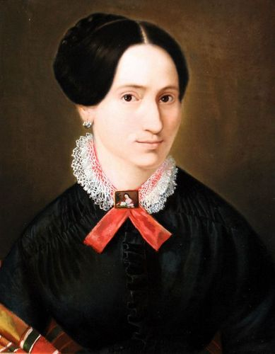 Portrait of a Woman Wearing a Painted Miniature Brooch
