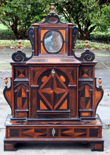 Rare Small Dutch Marquetry Collectors Cabinet