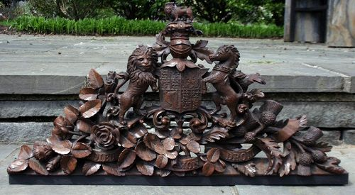 Antique Carved Wood Royal Coat of Arms