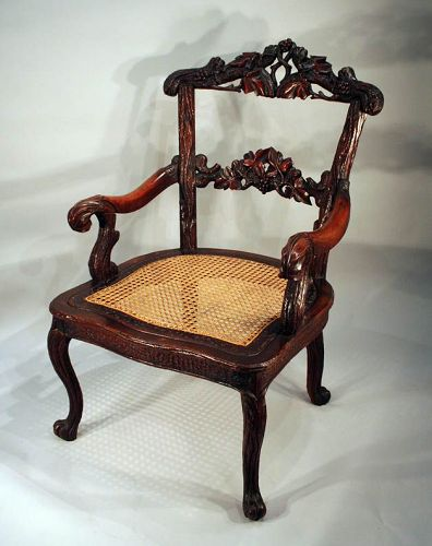 Impressive Black Forest Carved Armchair