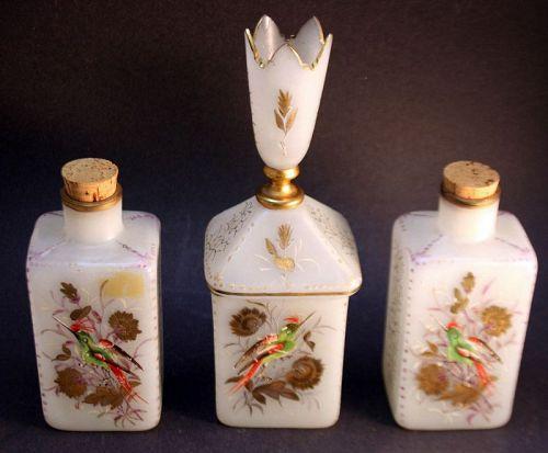 Rare Pair of Glass Tea Caddies and a Sugarbowl