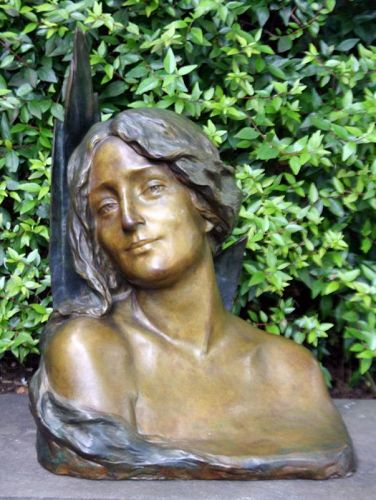 Art Noveau Bronze of a Young Beauty by Maurice Boval (Fr., 1863–1916)