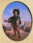 Boy Holding a Turkey, 19th C. Spanish School