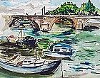Bridge in Paris by Celine Marie Tabary (Fr., b. 1908)