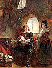 Figures in an Interior by Daniel Pasmore (Br. 19th C)