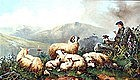 Shepherd With Highland Sheep by John W. Morris (Br.)