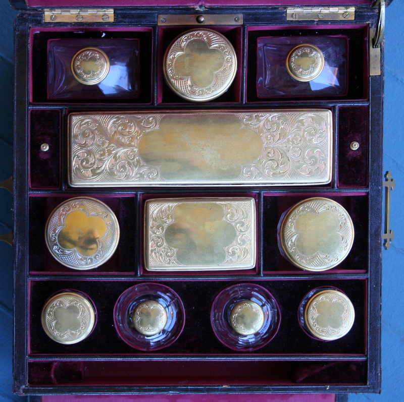 French Painted Leather Necessaire or Dressing Box