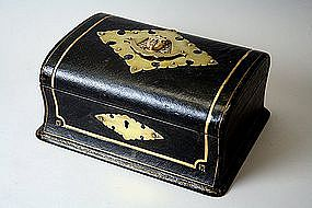 Antique English Leather Jewelry Box