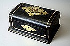 Antique English Leather Jewelry Box