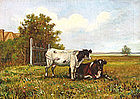 Cows Resting in a Field, Oil on canvas, American, 19th Century