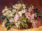 Basket of Lilacs by Jonas LaValley (American, 1858-1930