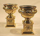 Pair of Antique Continental Brass Urns