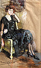 Woman Seated in a Wicker Armchair, Pastel by Webster