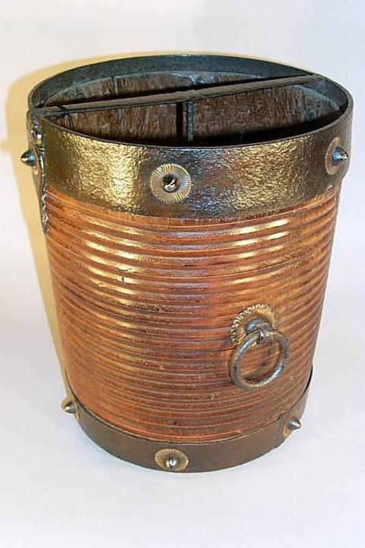 Iron and Brass Bound Walnut Bucket