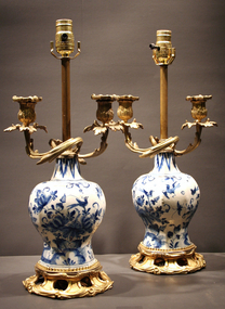 Exceptional Pair of 18th Century Delft Vases
